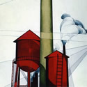 Charles Demuth (1883-1935) | Buildings, 1930-31 | Oil and Graphite on Board, 30 x 24 inches | Dallas Art Museum