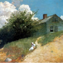 Winslow Homer (1836-1910) | Houses on a Hillside | Oil on Canvas 15 3/4 x 22 1/2 inches |  Signed and dated Homer 1879 lower right |Private Collection