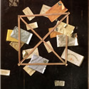 William Michael Harnett (1848-1892) | Mr. Hulings' Rack Picture | Oil on Canvas, 30 x 25 inches | Signed and dated WMHarnett 1888 lower left | Private Collection